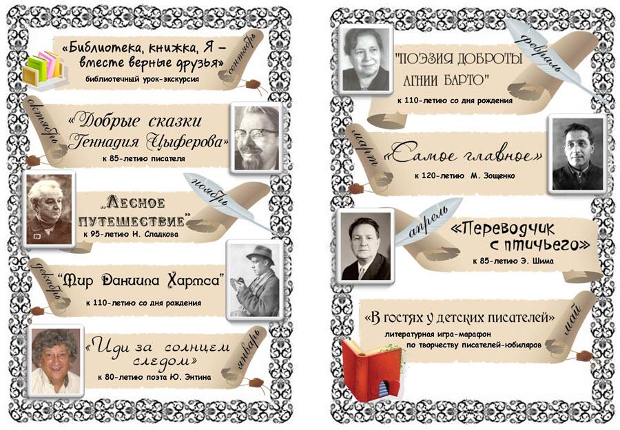Юбилеи писателей в 2017 году